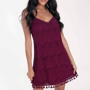 Speechless April Pom Pom Swing Dress Tassels Lace